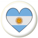 Argentina Country Flag Heart 25mm Pin Button Badge